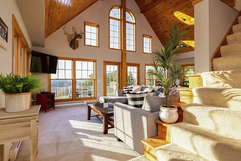 Interior of mountain top chalet in PA Grand Canyon area.