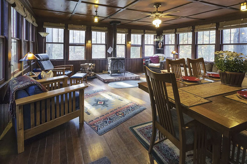 Dining area of a vacation rental cabin in the Laurel Highlands of Pennsylvania.