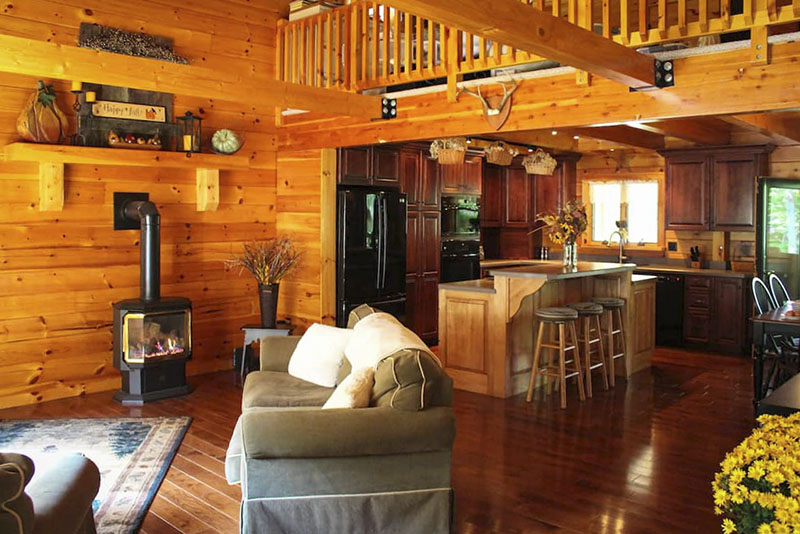 Interior of modern cabin in the Tioga Mountains in Tioga County PA