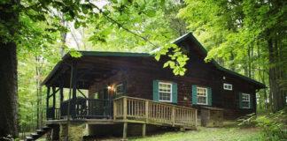 Exterior of a rental cabin in the Laurel Highlands.