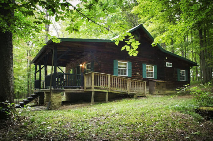 Exterior of a rental cabin in the Laurel Highlands.