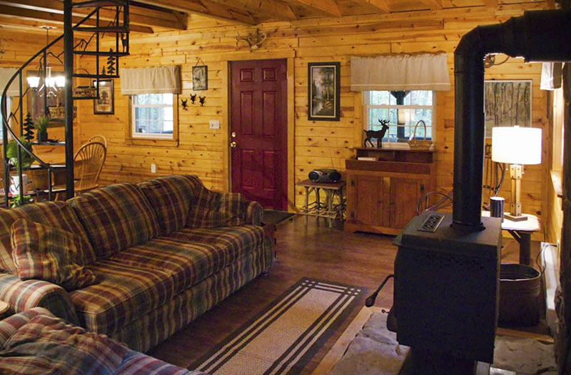 Interior of a rustic rental cabin in the Laurel Highlands of Pennsylvania.