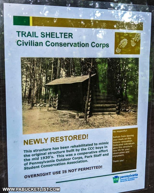 Trail shelter information along the Hemlock Trail at Laurel Hill State Park.