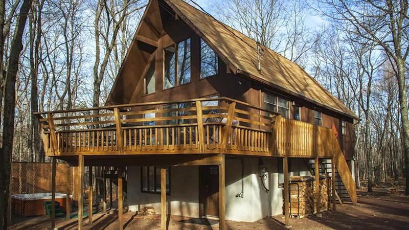 A Poconos mountain cabin vacation rental.
