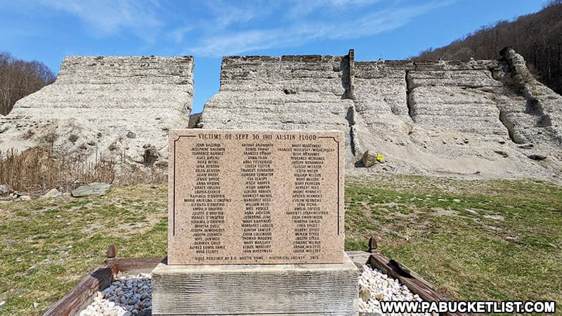 Memorial to the victims of the Austin Dam Flood at Austin Dam Memorial Park.