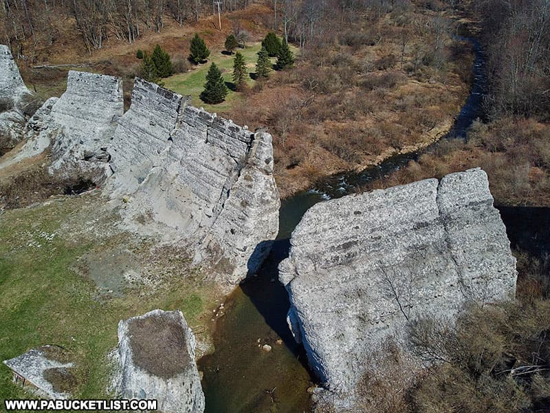 Looking down on the Austin Dam ruins in Potter County.