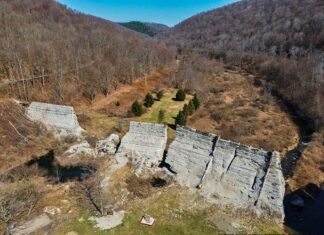 Aerial view of Austin Dam ruins in Potter County Pennsylvania.