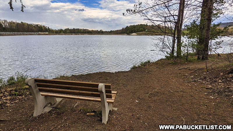 Bench along the Colyer Lake Trail outside State College Pennsylvania.