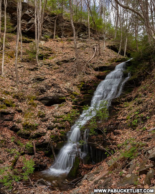 Side view of Benjamin Hollow Falls near the Pine Creek Rail Trail in Tioga County PA