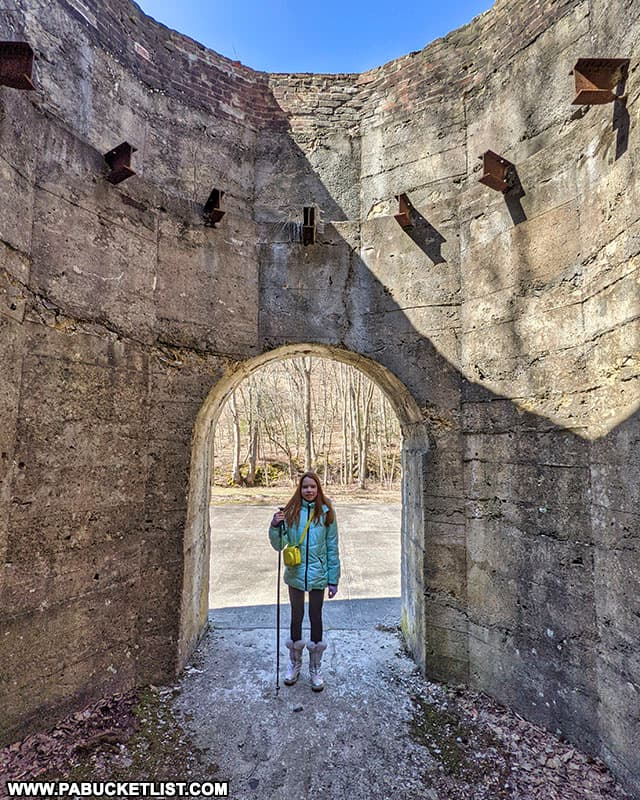 Standing inside one of the abandoned lime kilns at Canoe Creek State Park.
