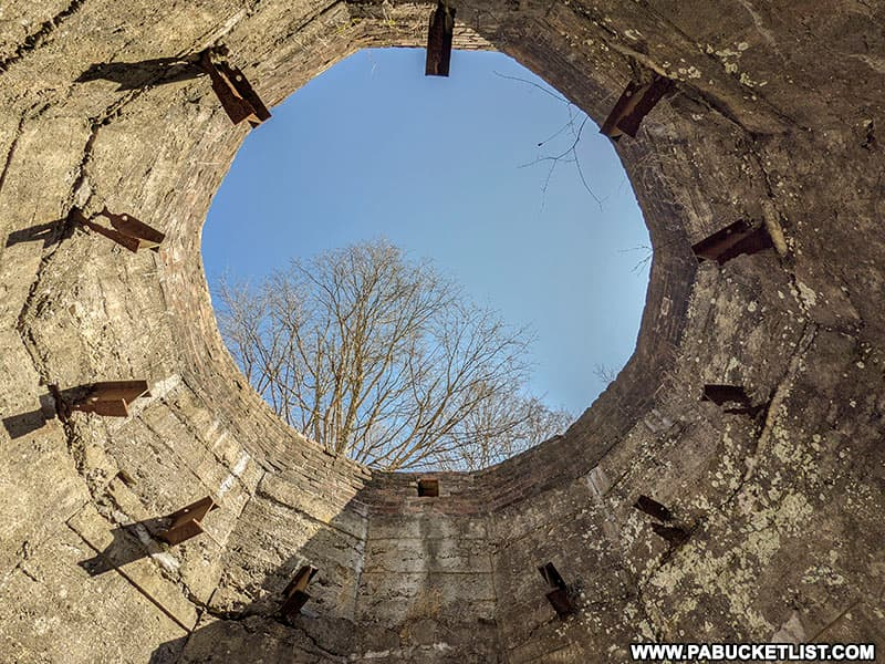 Looking up through one of the abandoned lime kiln stacks at Canoe Creek State Park.