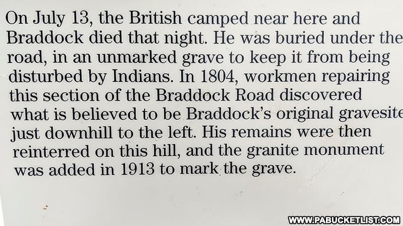 Story of General Braddock's burial in Fayette County.