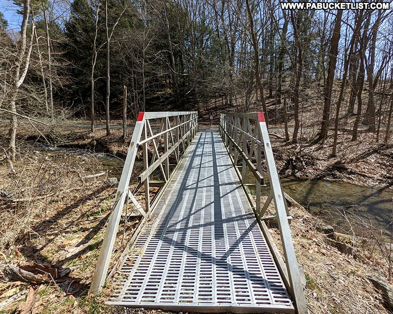 Bridge over Mary Ann's Creek along the Limestone Trail at Canoe Creek State Park.