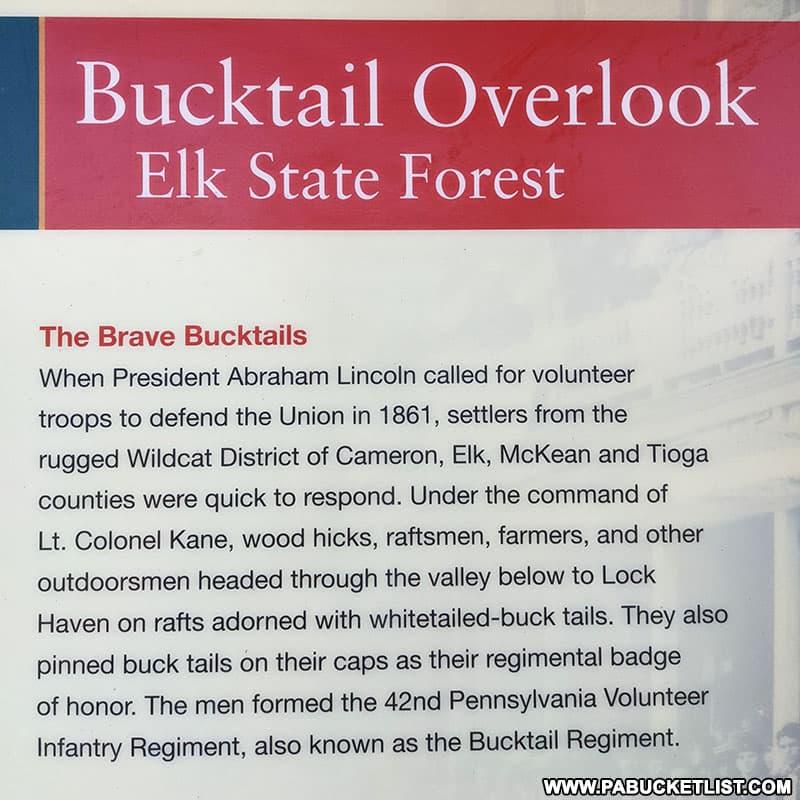 Bucktail Overlook informational sign.