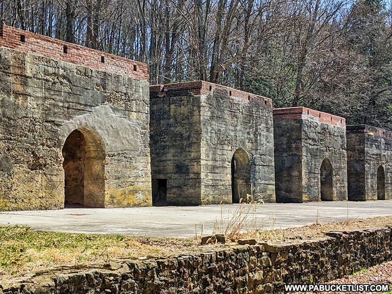 The historic Blair Limestone Company kilns at Canoe Creek State Park.