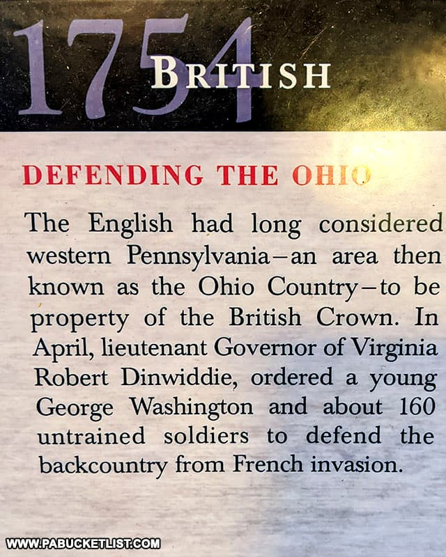History leading up to George Washington's excursion into western Pennsylvania.