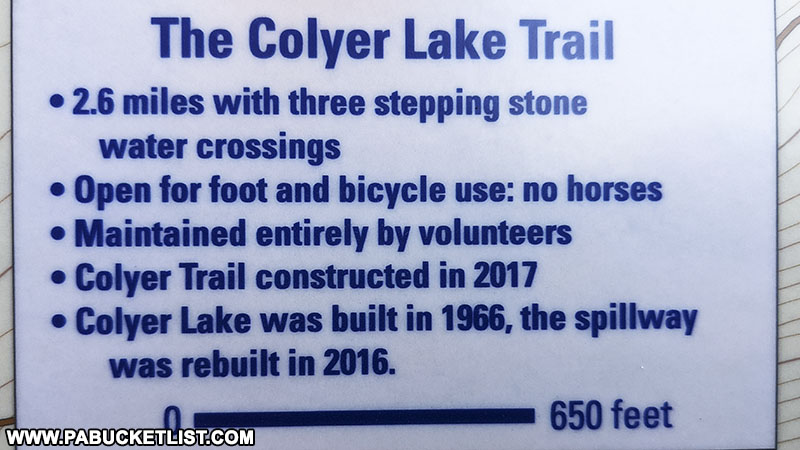 Details of the Colyer Lake Trail, from a map posted near the Lake Road trail head.