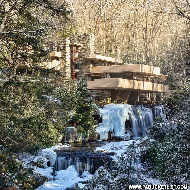 """The spring thaw at the """"classic view"""" of Fallingwater in Fayette County."""
