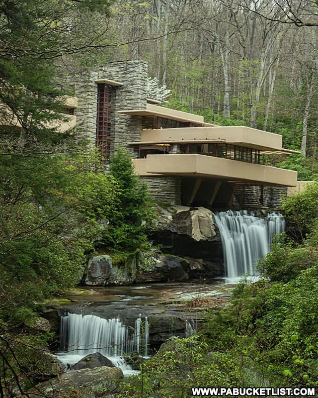 "The ""classic view"" of Frank Lloyd Wright's Fallingwater in the PA Laurel Highlands."
