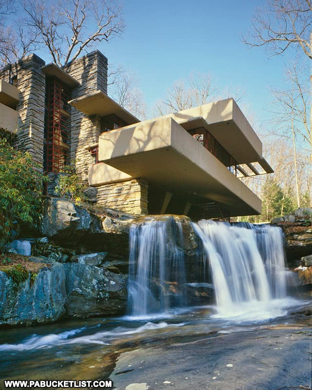 View from below the falls at Fallingwater.