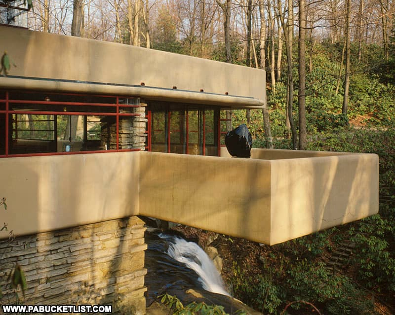 Overlooking the falls at Fallingwater.