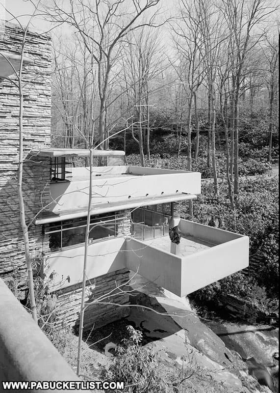 Fallingwater as viewed from the hillside above.