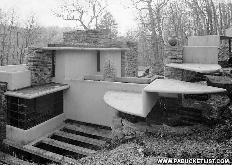 Architectural details on the exterior of Fallingwater.