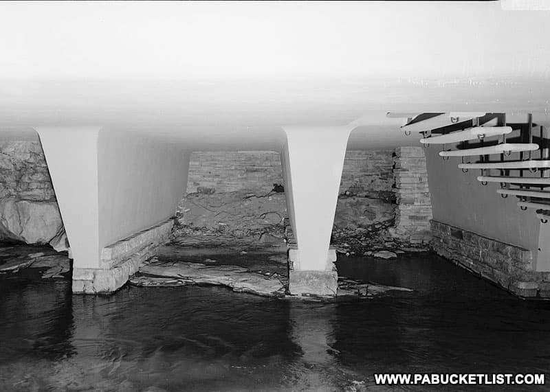 Support columns beneath Fallingwater.