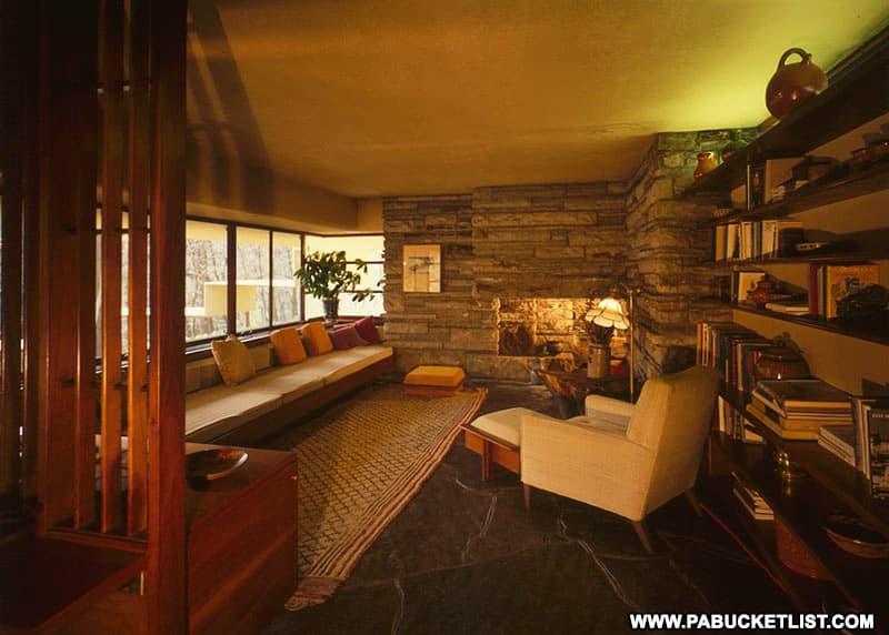 Living room inside Fallingwater.