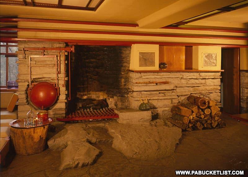 Fireplace inside Fallingwater.