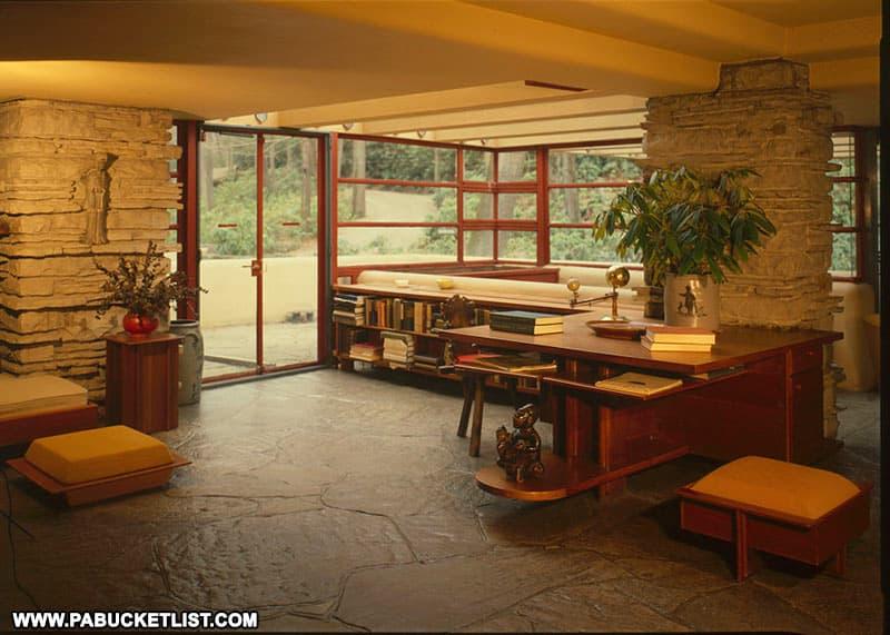 Desk and bookshelves in side Fallingwater.