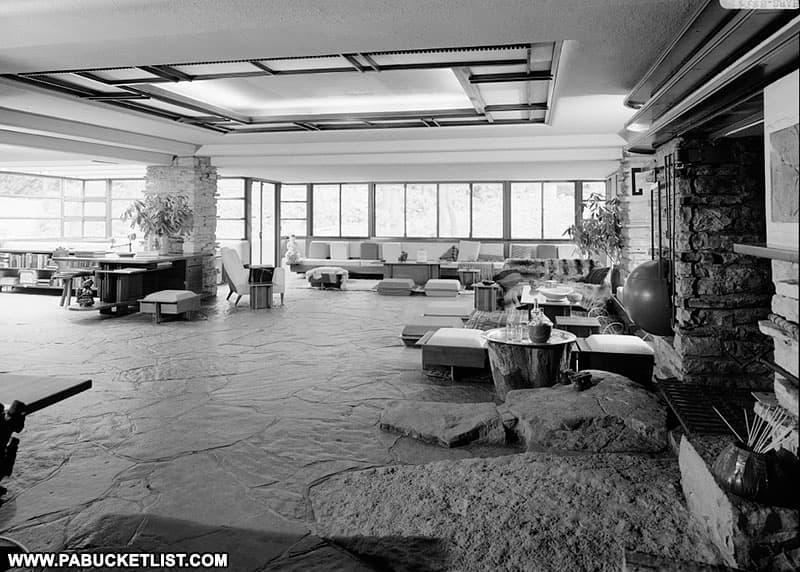 Living space inside Frank Lloyd Wright's Fallingwater.