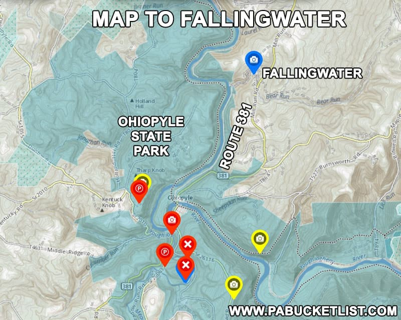 How to find Fallingwater in Fayette County Pennsylvania