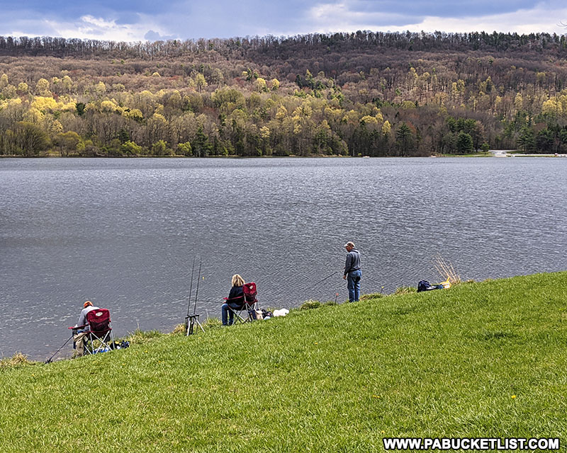 Folks enjoying the afternoon fishing at Colyer Lake in Centre County.
