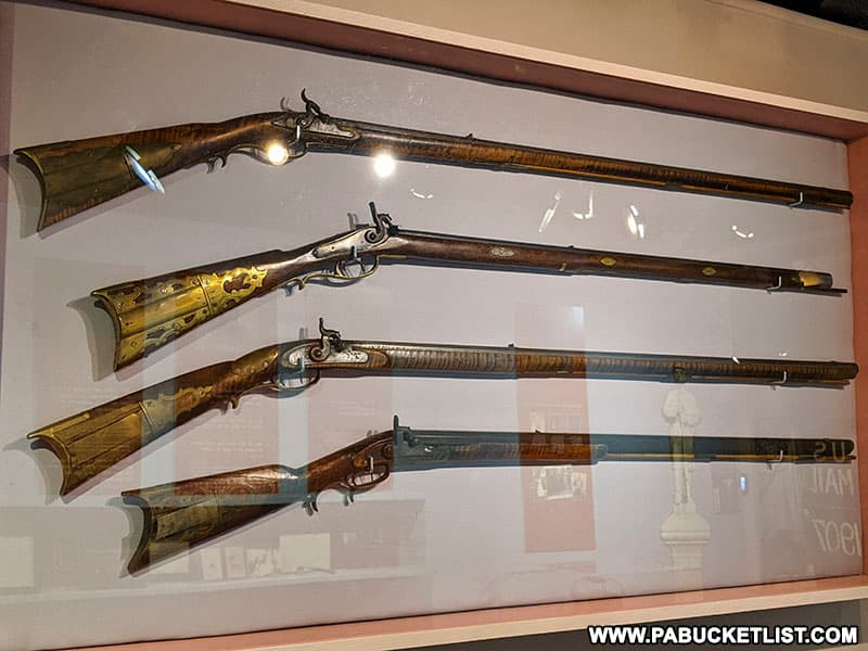 Rifles on display at the Fort Bedford Museum.