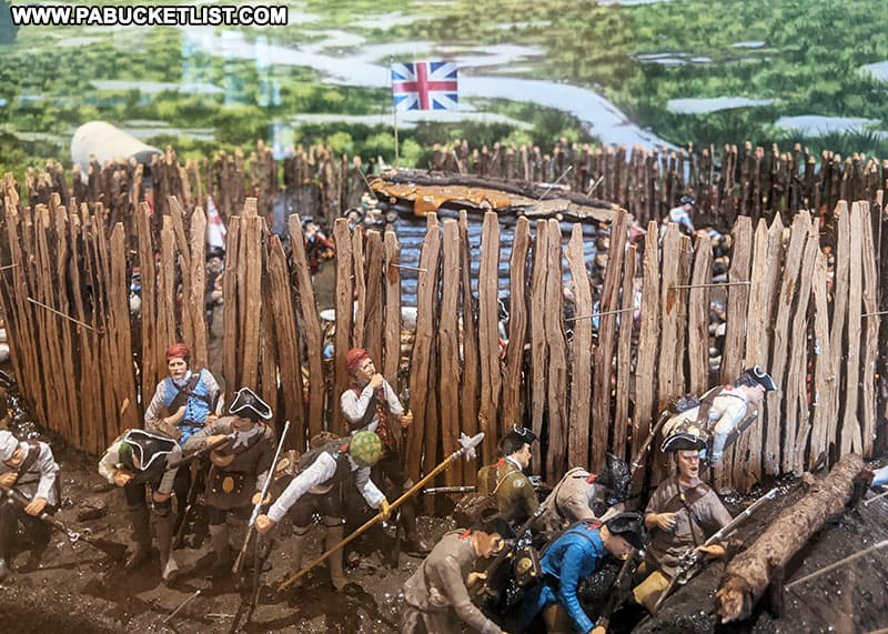 A model of what the Battle of Fort Necessity might have looked like on display at the Fort Necessity National Battlefield Visitor Center.