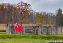The modern-day replica of Fort Necessity at the National Battlefield in Fayette County PA