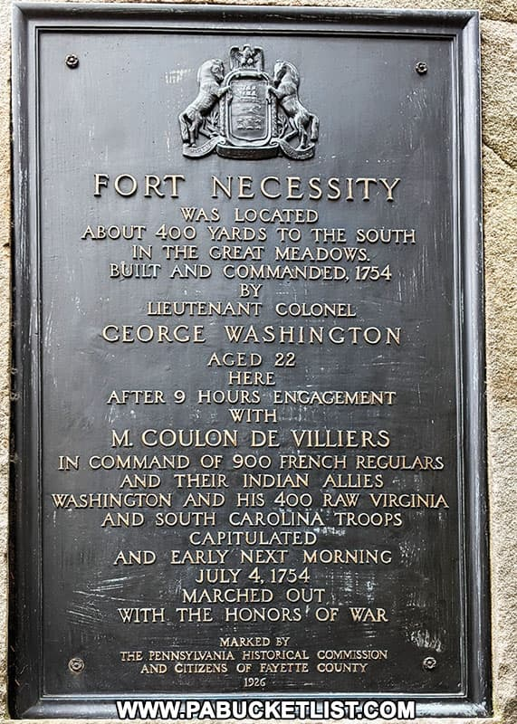 Historical marker along US Route 40 commemorating Fort Necessity.