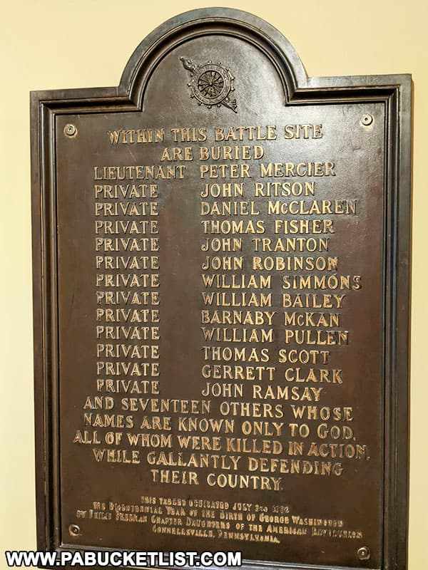 Plaque honoring soldiers buried at Fort Necessity National Battlefield.
