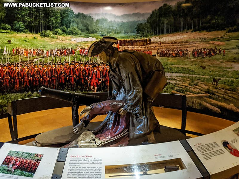 Interpretive display inside the Fort Necessity museum.