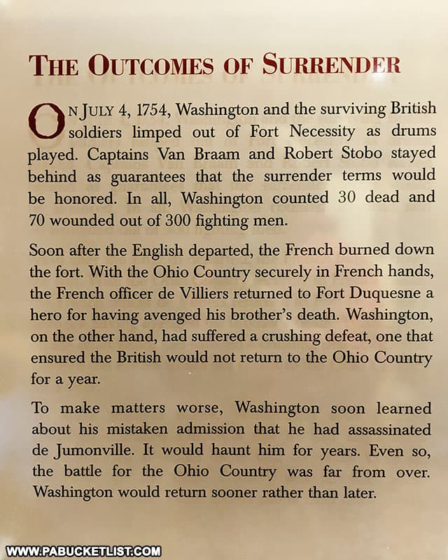 Story of the surrender of Fort Necessity.