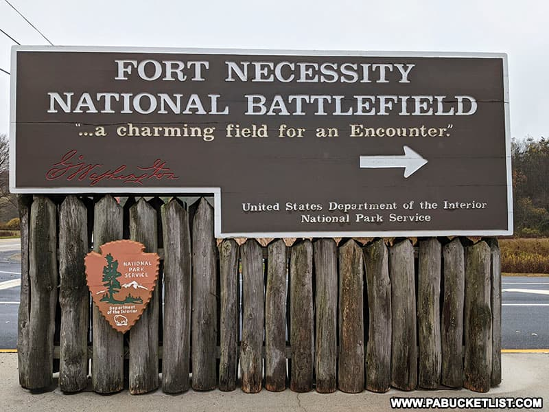 Fort Necessity Battlefield sign along Route 40 in Fayette County Pennsylvania.