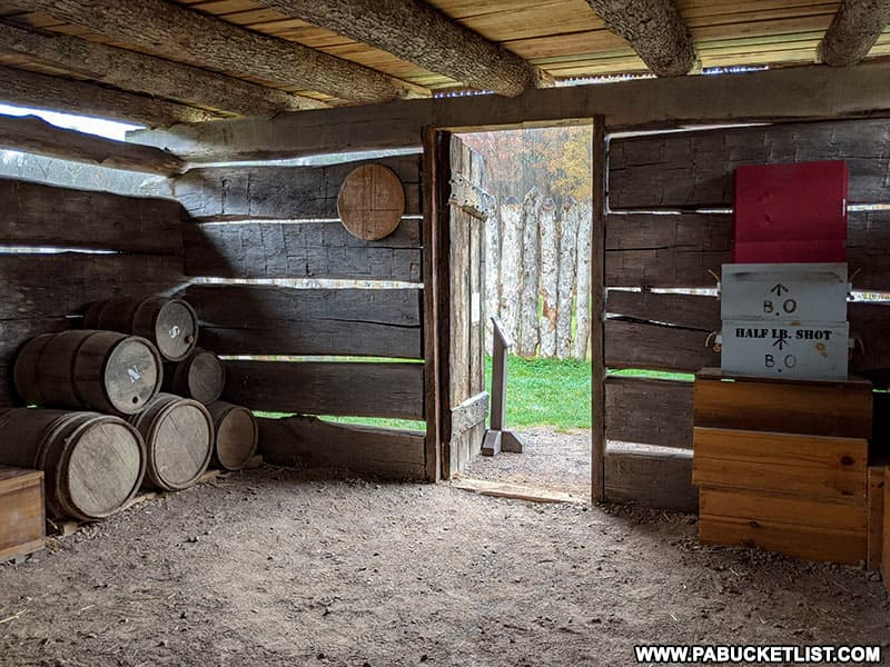Inside the storehouse at Fort Necessity.
