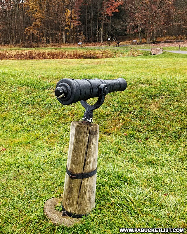 Swivel gun near the trenches around Fort Necessity.