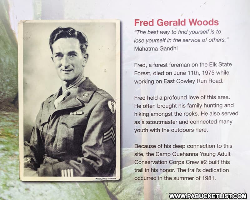 Fred Woods biography near the trail head.