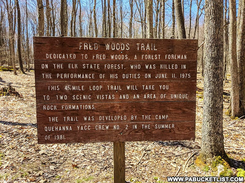Fred Woods Trail Informational sign along the main loop trail.