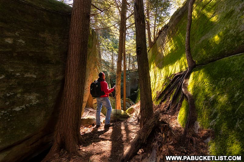 Hiking through the rock formations along the Fred Woods Trail in Cameron County