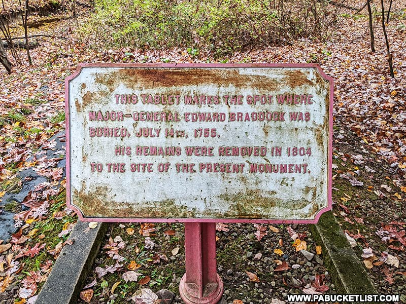 Original gravesite of General Edward Braddock in Fayette County Pennsylvania.