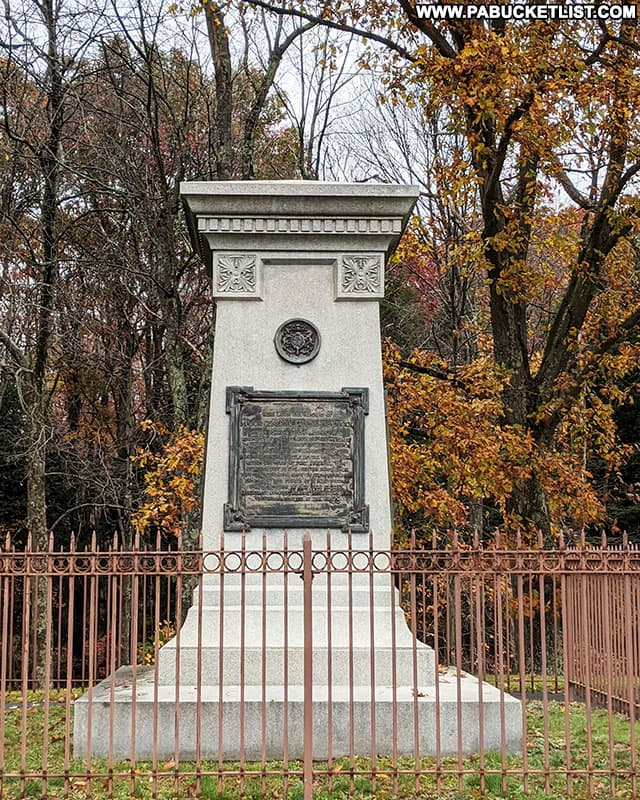 General Braddock's grave along Route 40 in Fayette County, Pennsylvania.