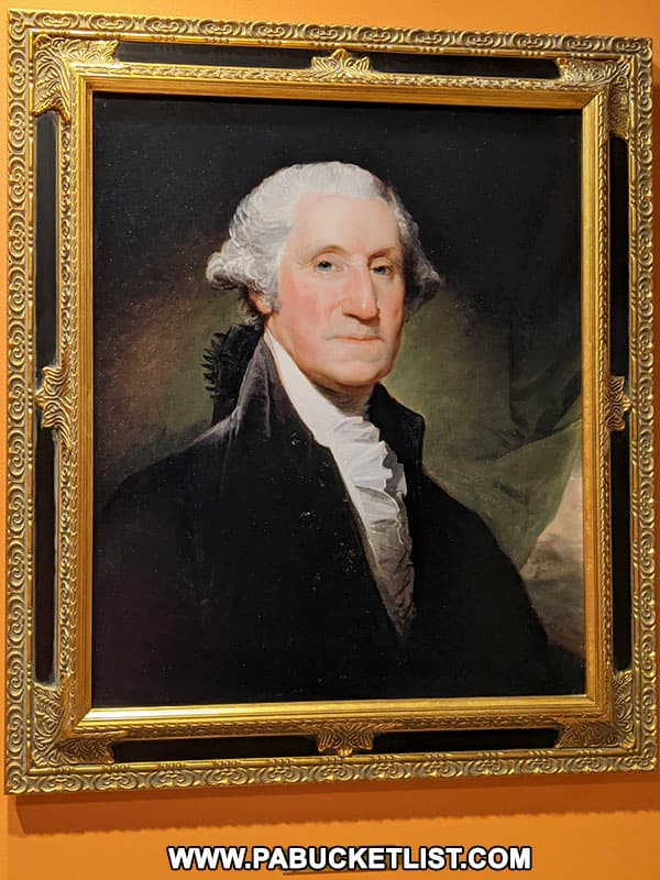 Portrait of George Washington as President, on display at the Fort Necessity National Battlefield Visitor Center.